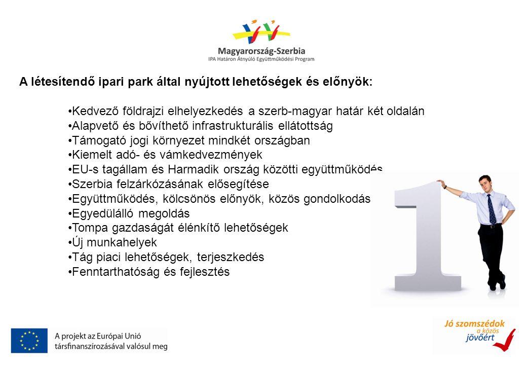 A létesítendő ipari park által nyújtott lehetőségek és előnyök: Kedvező földrajzi elhelyezkedés a szerb-magyar határ két oldalán Alapvető és bővíthető infrastrukturális ellátottság Támogató jogi környezet mindkét országban Kiemelt adó- és vámkedvezmények EU-s tagállam és Harmadik ország közötti együttműködés, Szerbia felzárkózásának elősegítése Együttműködés, kölcsönös előnyök, közös gondolkodás Egyedülálló megoldás Tompa gazdaságát élénkítő lehetőségek Új munkahelyek Tág piaci lehetőségek, terjeszkedés Fenntarthatóság és fejlesztés