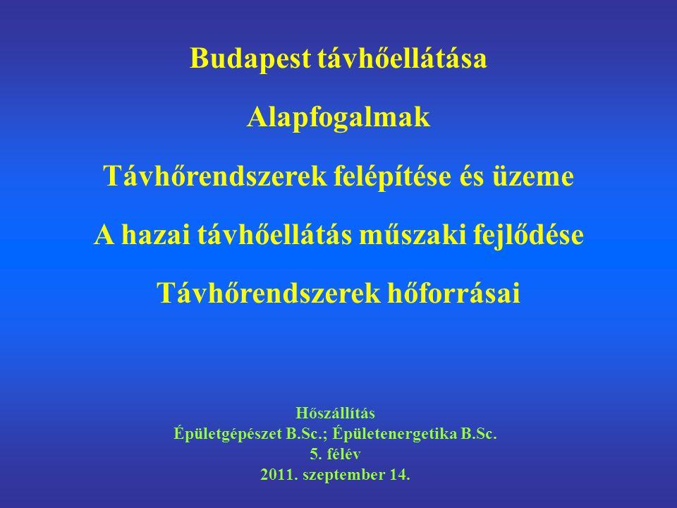 Tömeges lakásépítés 1960-90 között Budapest távhőellátása Alapfogalmak –A hőszállítás eszközei és rendszerei –Távhőrendszerek osztályozása és felépítése A hazai távhőellátó rendszerek műszaki fejlődése A távhőellátás hőforrásai A hazai távhőszolgáltatás problémái Az előadás témái
