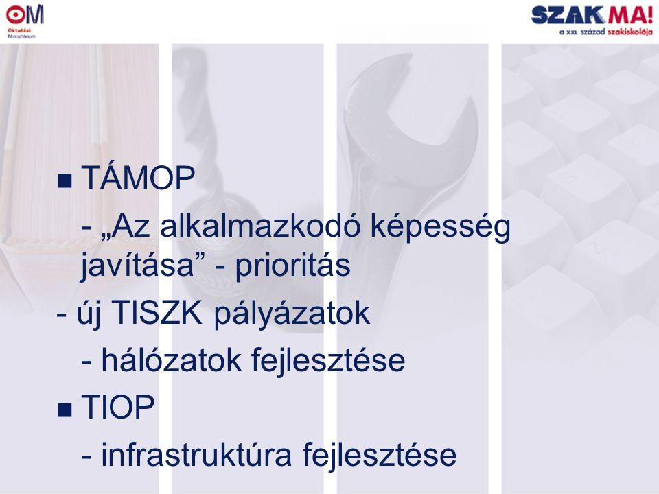 """n TÁMOP - """"Az alkalmazkodó képesség javítása - prioritás - új TISZK pályázatok - hálózatok fejlesztése n TIOP - infrastruktúra fejlesztése"""