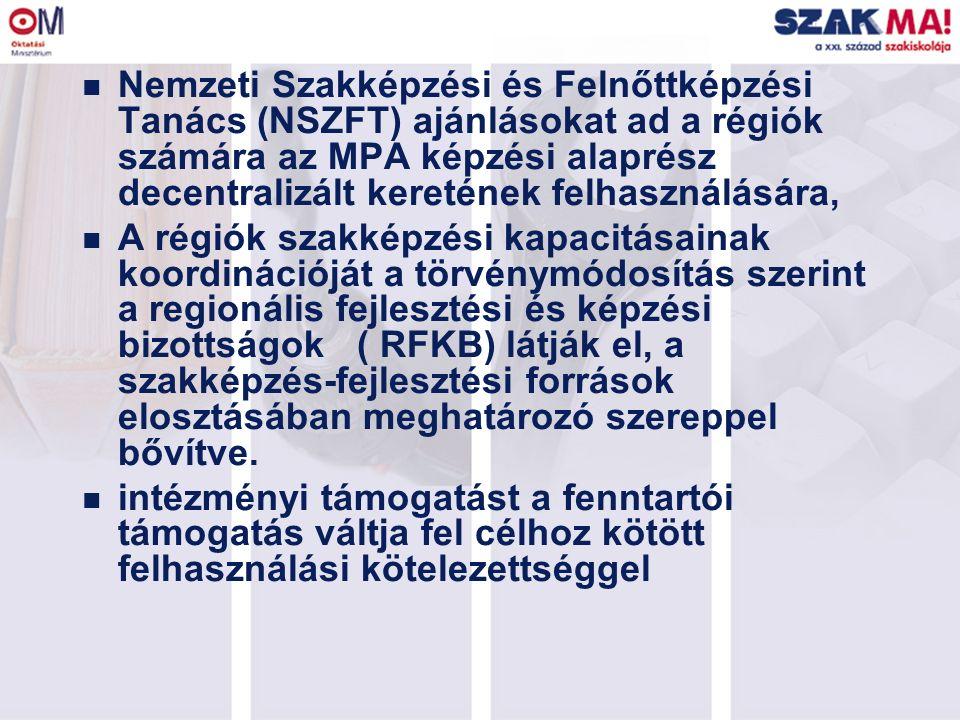 n Nemzeti Szakképzési és Felnőttképzési Tanács (NSZFT) ajánlásokat ad a régiók számára az MPA képzési alaprész decentralizált keretének felhasználásár