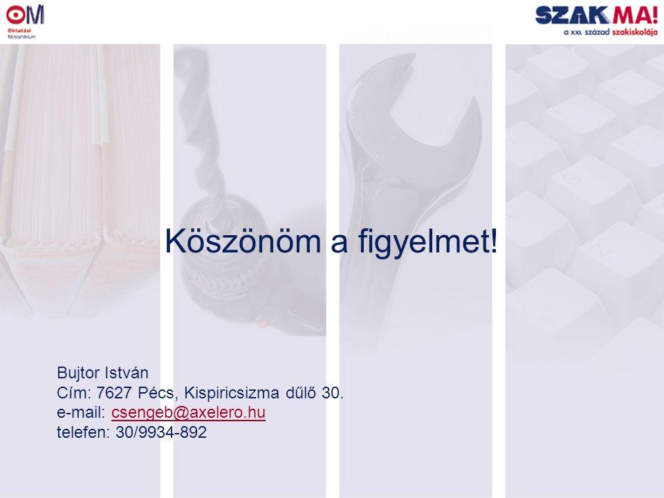 Köszönöm a figyelmet. Bujtor István Cím: 7627 Pécs, Kispiricsizma dűlő 30.