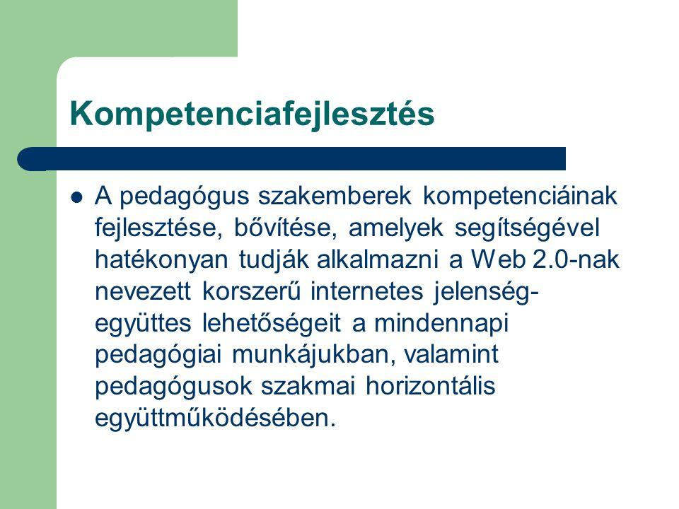 Kompetenciafejlesztés A pedagógus szakemberek kompetenciáinak fejlesztése, bővítése, amelyek segítségével hatékonyan tudják alkalmazni a Web 2.0-nak nevezett korszerű internetes jelenség- együttes lehetőségeit a mindennapi pedagógiai munkájukban, valamint pedagógusok szakmai horizontális együttműködésében.