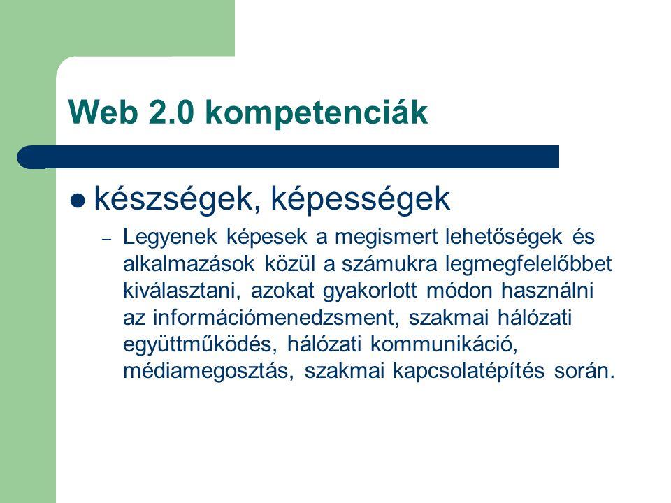 Web 2.0 kompetenciák készségek, képességek – Legyenek képesek a megismert lehetőségek és alkalmazások közül a számukra legmegfelelőbbet kiválasztani, azokat gyakorlott módon használni az információmenedzsment, szakmai hálózati együttműködés, hálózati kommunikáció, médiamegosztás, szakmai kapcsolatépítés során.