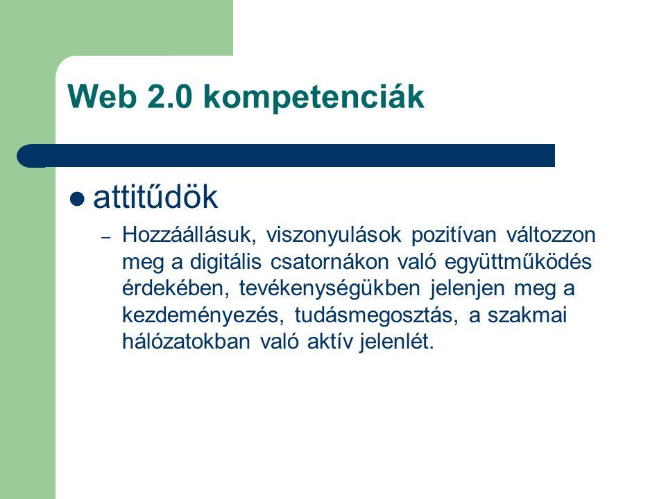 Web 2.0 kompetenciák attitűdök – Hozzáállásuk, viszonyulások pozitívan változzon meg a digitális csatornákon való együttműködés érdekében, tevékenységükben jelenjen meg a kezdeményezés, tudásmegosztás, a szakmai hálózatokban való aktív jelenlét.