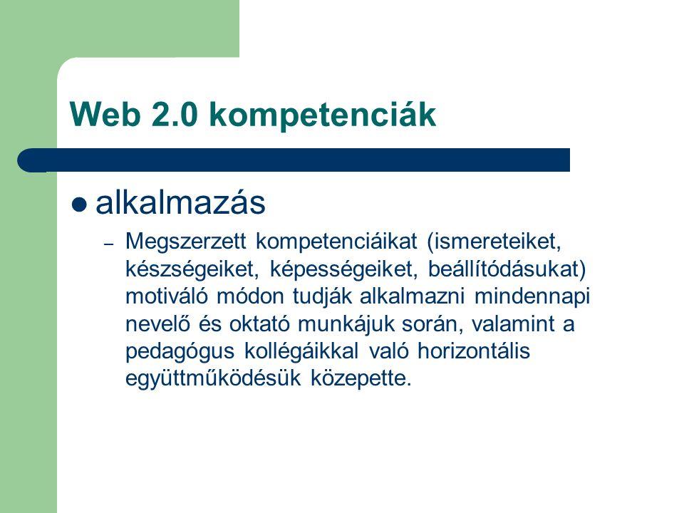 Web 2.0 kompetenciák alkalmazás – Megszerzett kompetenciáikat (ismereteiket, készségeiket, képességeiket, beállítódásukat) motiváló módon tudják alkalmazni mindennapi nevelő és oktató munkájuk során, valamint a pedagógus kollégáikkal való horizontális együttműködésük közepette.