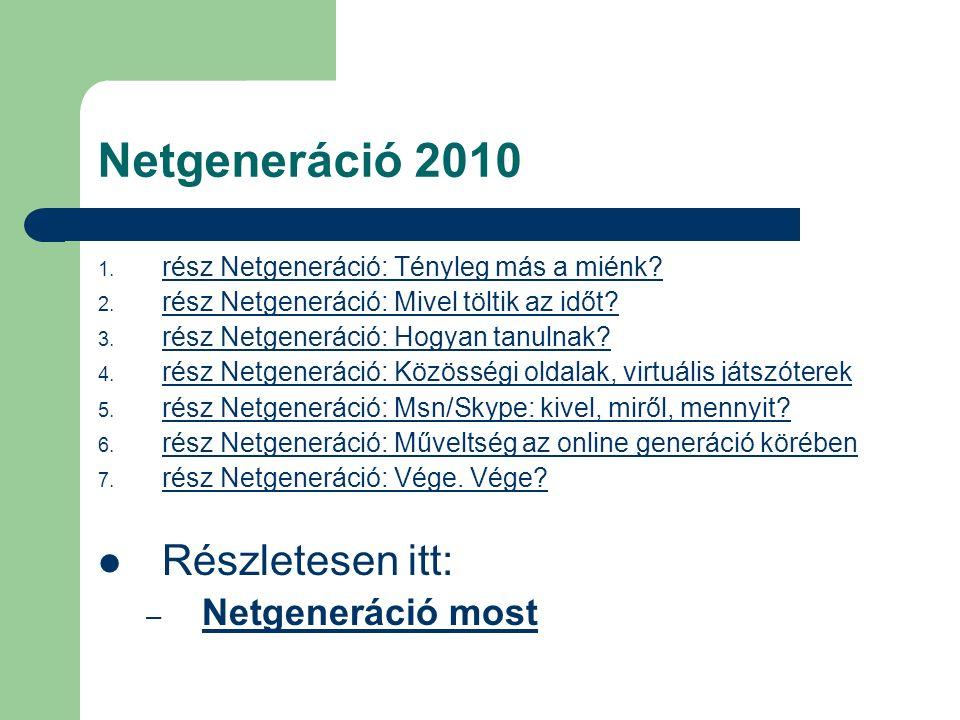 Netgeneráció 2010 nem pozitív véleménnyel van a hazai netgeneráció tudásáról nem igazolja a gyerekeknél meglevő magas szintű digitális eszközhasználatot bizonyítja, hogy a tanulók nagy része nagyon nem arra használja az internetes tudását, amire az ő korában érdemes lenne