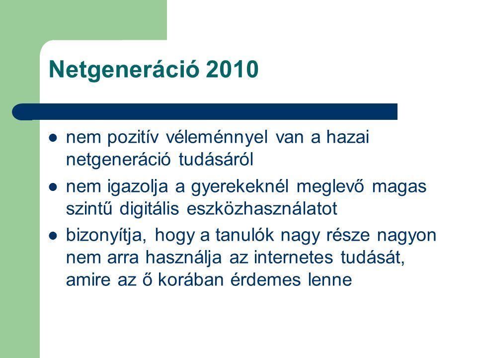 Netgeneráció 2010 nem pozitív véleménnyel van a hazai netgeneráció tudásáról nem igazolja a gyerekeknél meglevő magas szintű digitális eszközhasználat