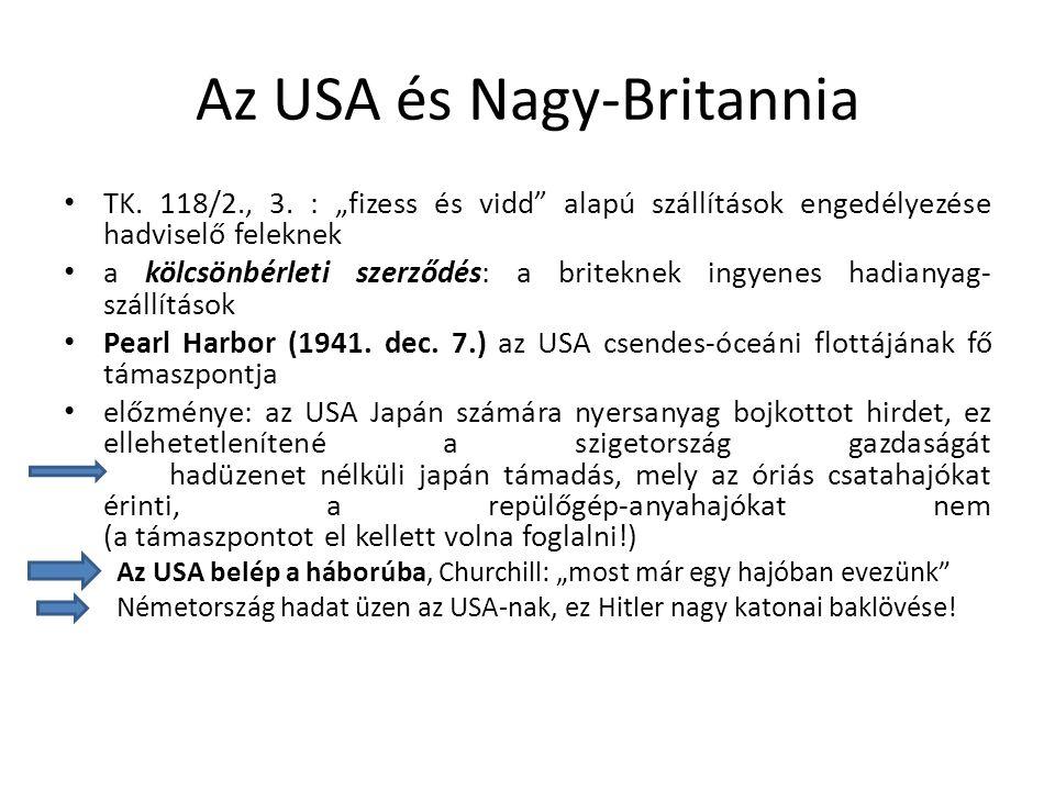 """A távol-keleti front Japán területfoglalásai a 30-as években; oka a szigetország nyersanyaghiánya és zsúfoltsága """"élettérre van szüksége (Tanaka-terv) A politikát a tábornokok irányítják; a császár uralkodik, de nem kormányoz A hadsereg fanatikus és jól felszerelt; a hagyományos gyarmatosítók területeit megszerzi a Csendes-óceánon Midway-szgk.(1942 nyara): az USA legyőzi Japánt, 1943-ban megkezdi a """"békaugrás hadműveletet , azaz a japánok szigetről szigetre történő visszaszorítását"""