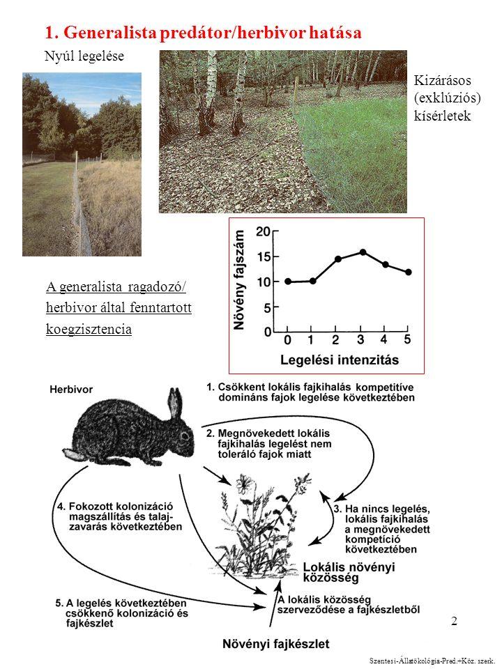 2 1. Generalista predátor/herbivor hatása Nyúl legelése A generalista ragadozó/ herbivor által fenntartott koegzisztencia Kizárásos (exklúziós) kísérl