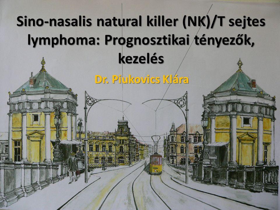 Extranodalis natural killer (NK)/T- sejtes lymphoma (ENKTL) Ritka megjelenésű (össz.: NHL<1 %-a) Sejtek eredete: γ, δ vagy α, β citotoxikus T-sejt Geográfiai megoszlás: (Ázsia>USA, Európa) Immunfenotípus: CD2+, CD56+, CD3ε+ Távoli terjedés:<10% Lokalizáció: >Nasalis >Extranasalis (bőr, lágyrész, here, gastrointestinum)