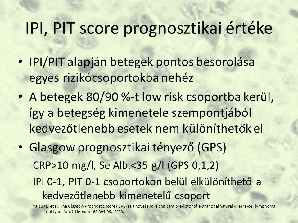 IPI, PIT score prognosztikai értéke IPI/PIT alapján betegek pontos besorolása egyes rizikócsoportokba nehéz A betegek 80/90 %-t low risk csoportba kerül, így a betegség kimenetele szempontjából kedvezőtlenebb esetek nem különíthetők el Glasgow prognosztikai tényező (GPS) CRP>10 mg/l, Se Alb.<35 g/l (GPS 0,1,2) IPI 0-1, PIT 0-1 csoportokon belül elkülöníthető a kedvezőtlenebb kimenetelű csoport Ya-Jun Li et al, The Glasgow Prognostic score (GPS) as a novel and significant predictor of extranodal natural killer/T-cell lymphoma, nasal type.