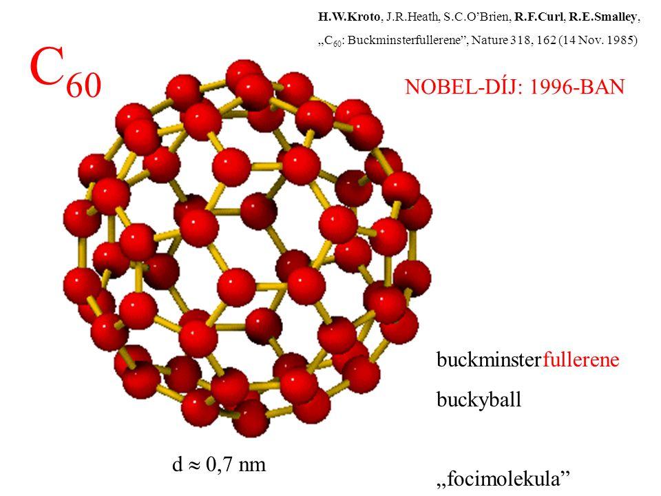 "buckminsterfullerene buckyball ""focimolekula"" C 60 d  0,7 nm H.W.Kroto, J.R.Heath, S.C.O'Brien, R.F.Curl, R.E.Smalley, ""C 60 : Buckminsterfullerene"","