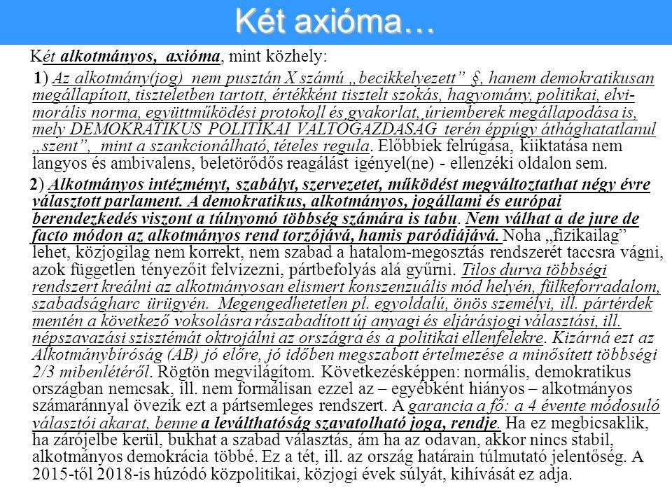 """Két alkotmányos, axióma, mint közhely: 1) Az alkotmány(jog) nem pusztán X számú """"becikkelyezett"""" §, hanem demokratikusan megállapított, tiszteletben t"""