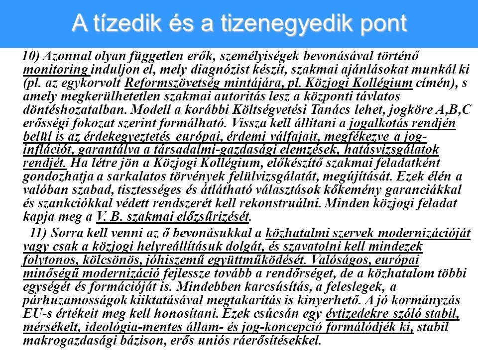 10) Azonnal olyan független erők, személyiségek bevonásával történő monitoring induljon el, mely diagnózist készít, szakmai ajánlásokat munkál ki (pl.