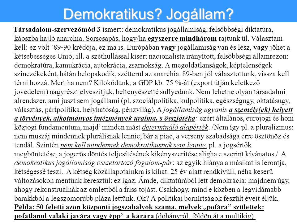 Társadalom-szervezőmód 3 ismert: demokratikus jogállamiság, felsőbbségi diktatúra, káoszba hajló anarchia. Sorscsapás, hogy/ha egyszerre mindhárom raj