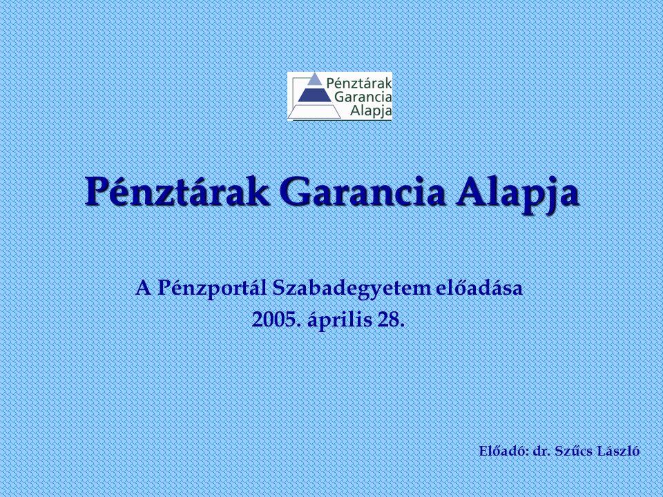 Pénztárak Garancia Alapja A Pénzportál Szabadegyetem előadása 2005. április 28. Előadó: dr. Szűcs László