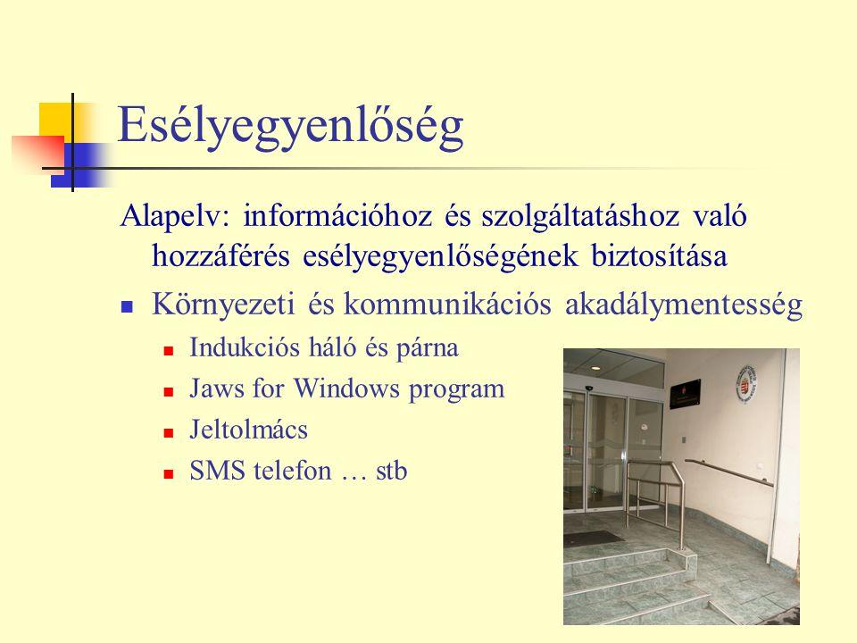 Esélyegyenlőség Alapelv: információhoz és szolgáltatáshoz való hozzáférés esélyegyenlőségének biztosítása Környezeti és kommunikációs akadálymentesség Indukciós háló és párna Jaws for Windows program Jeltolmács SMS telefon … stb