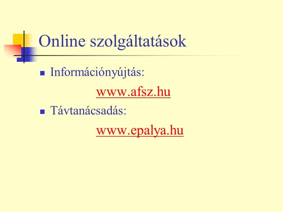 Online szolgáltatások Információnyújtás: www.afsz.hu Távtanácsadás: www.epalya.hu