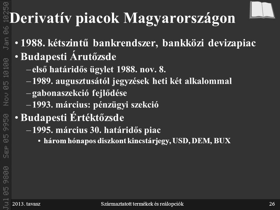 2013. tavaszSzármaztatott termékek és reálopciók26 Derivatív piacok Magyarországon 1988.