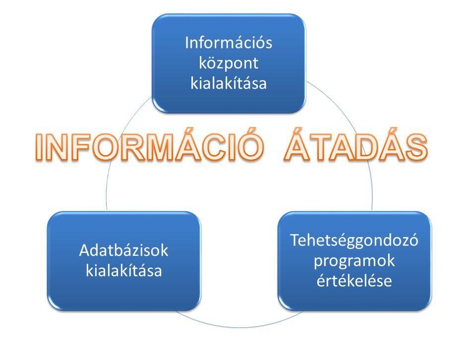Információs központ kialakítása Tehetséggondozó programok értékelése Adatbázisok kialakítása