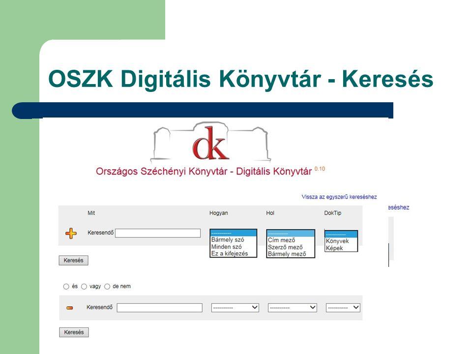 OSZK Digitális Könyvtár - Keresés