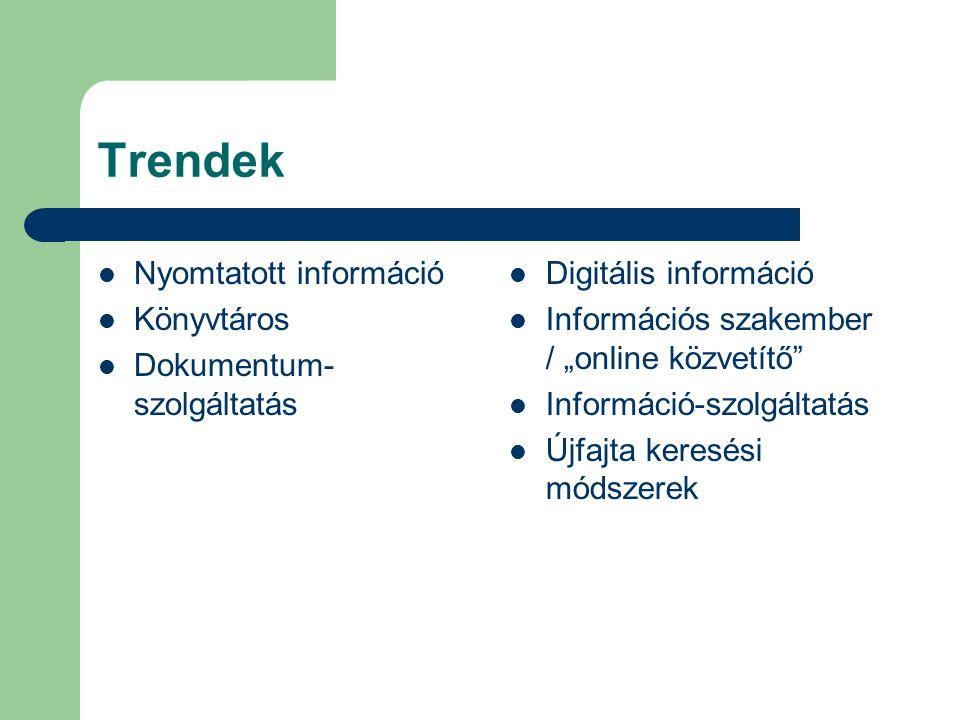"""Trendek Nyomtatott információ Könyvtáros Dokumentum- szolgáltatás Digitális információ Információs szakember / """"online közvetítő Információ-szolgáltatás Újfajta keresési módszerek"""