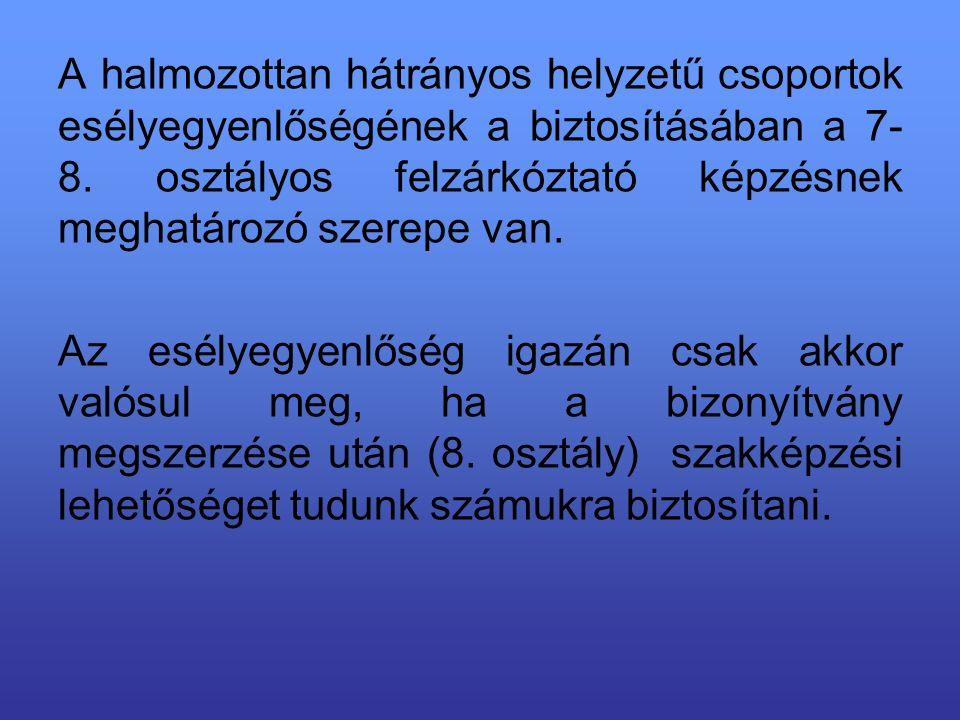 A halmozottan hátrányos helyzetű csoportok esélyegyenlőségének a biztosításában a 7- 8.