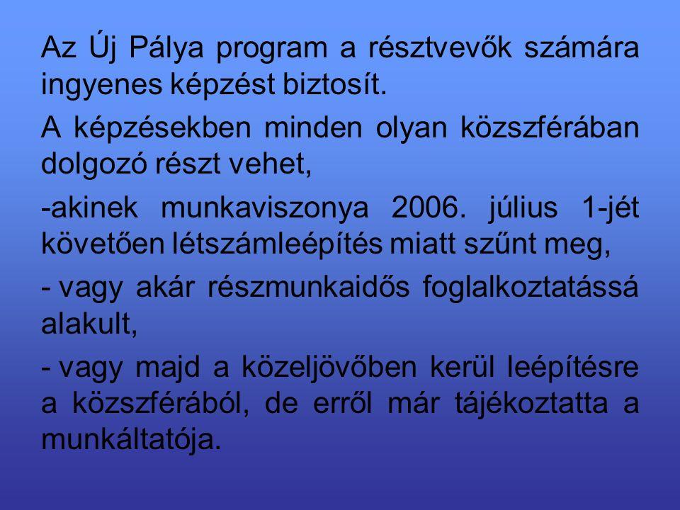 Az Új Pálya program a résztvevők számára ingyenes képzést biztosít.