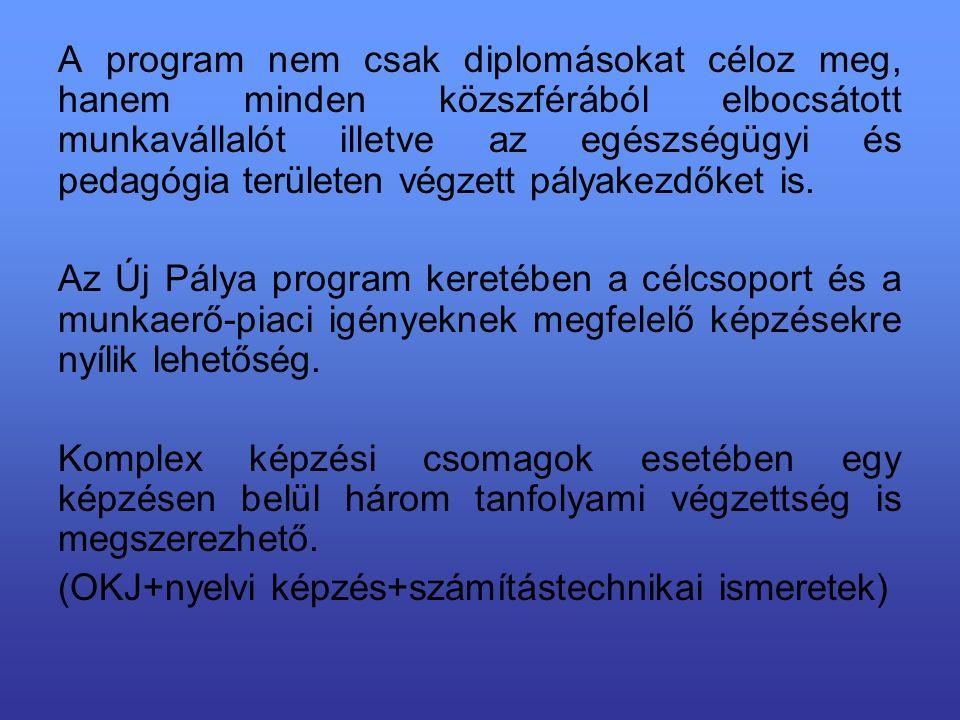 A program nem csak diplomásokat céloz meg, hanem minden közszférából elbocsátott munkavállalót illetve az egészségügyi és pedagógia területen végzett pályakezdőket is.