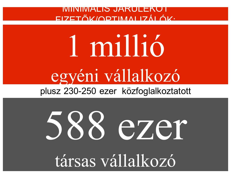 1 millió egyéni vállalkozó MINIMÁLIS JÁRULÉKOT FIZETŐK/OPTIMALIZÁLÓK: 588 ezer társas vállalkozó plusz 230-250 ezer közfoglalkoztatott