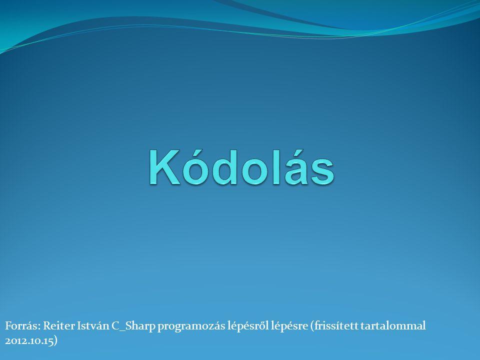 Forrás: Reiter István C_Sharp programozás lépésről lépésre (frissített tartalommal 2012.10.15)