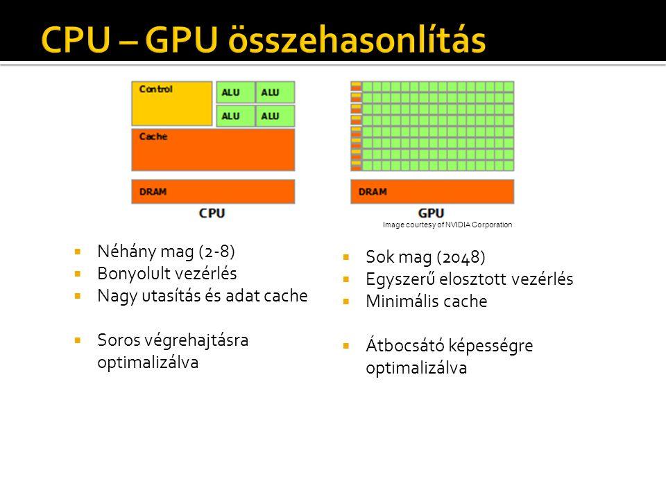  Néhány mag (2-8)  Bonyolult vezérlés  Nagy utasítás és adat cache  Soros végrehajtásra optimalizálva  Sok mag (2048)  Egyszerű elosztott vezérlés  Minimális cache  Átbocsátó képességre optimalizálva