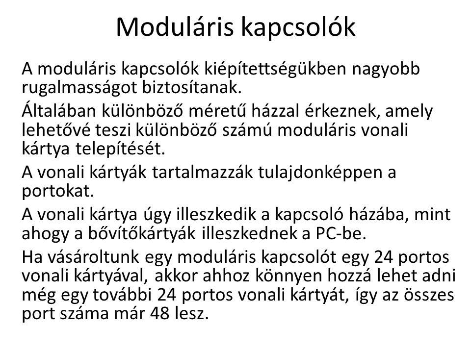 Moduláris kapcsolók A moduláris kapcsolók kiépítettségükben nagyobb rugalmasságot biztosítanak.