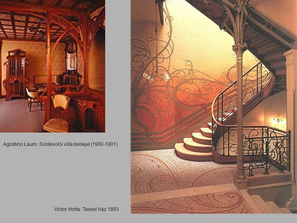Agostino Lauro: Sordevolói villa belseje (1900-1901) Victor Horta: Tassel ház 1893