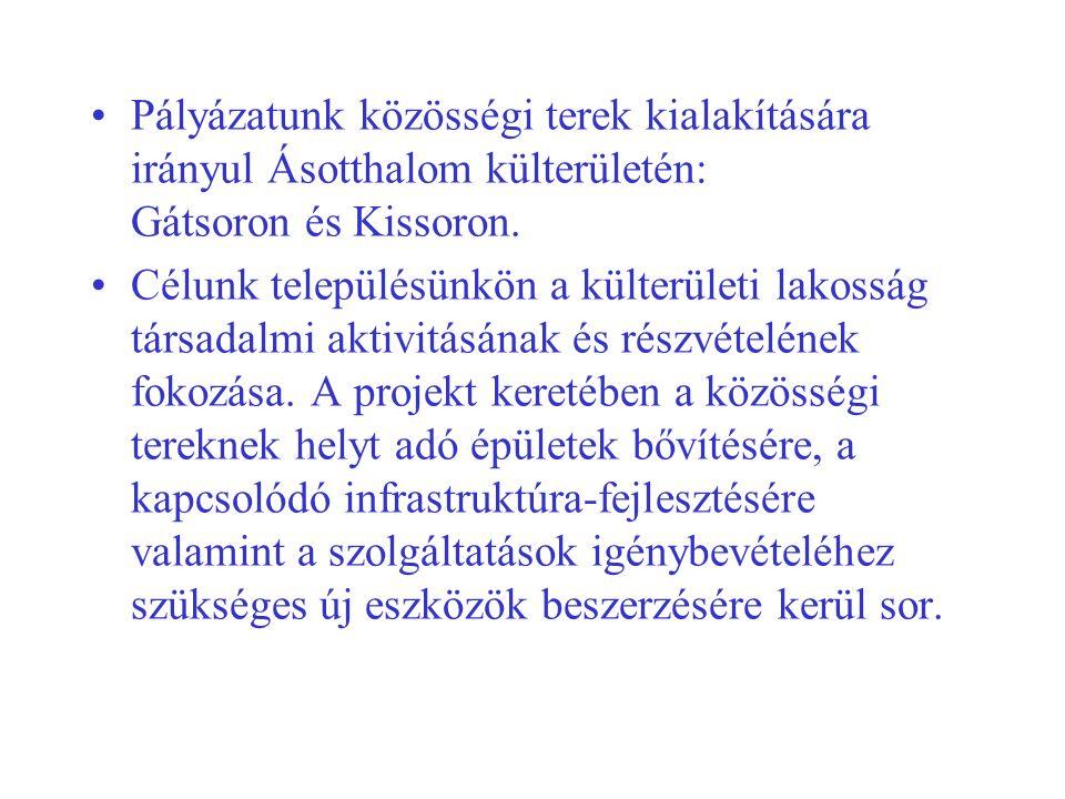 Pályázatunk közösségi terek kialakítására irányul Ásotthalom külterületén: Gátsoron és Kissoron.