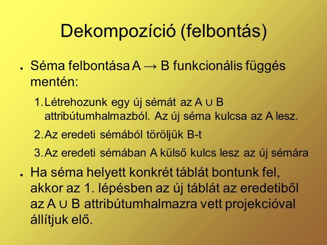Dekompozíció (felbontás) ● Séma felbontása A → B funkcionális függés mentén: 1.Létrehozunk egy új sémát az A ∪ B attribútumhalmazból. Az új séma kulcs