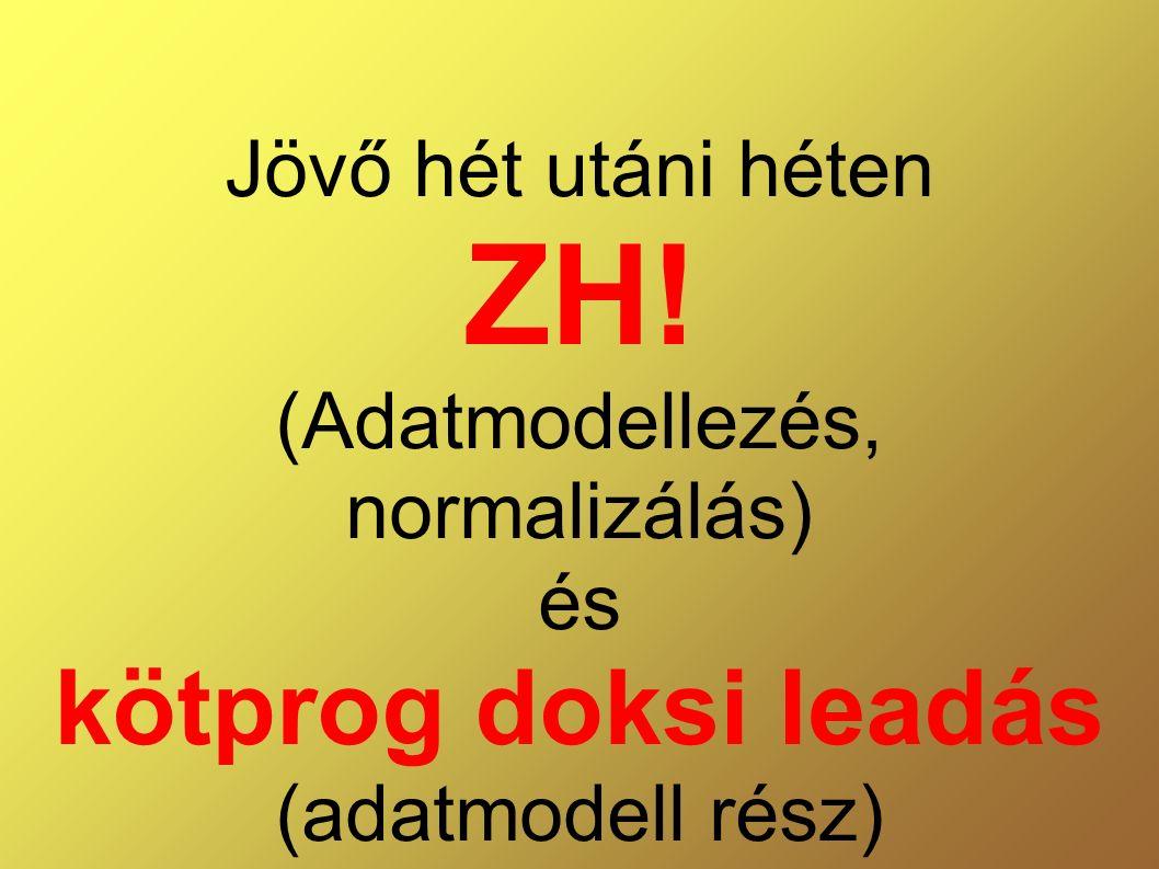Jövő hét utáni héten ZH! (Adatmodellezés, normalizálás) és kötprog doksi leadás (adatmodell rész)