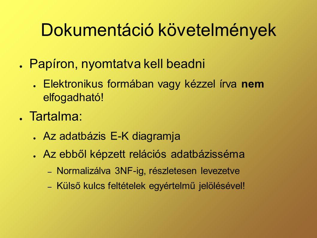 Dokumentáció követelmények ● Papíron, nyomtatva kell beadni ● Elektronikus formában vagy kézzel írva nem elfogadható! ● Tartalma: ● Az adatbázis E-K d