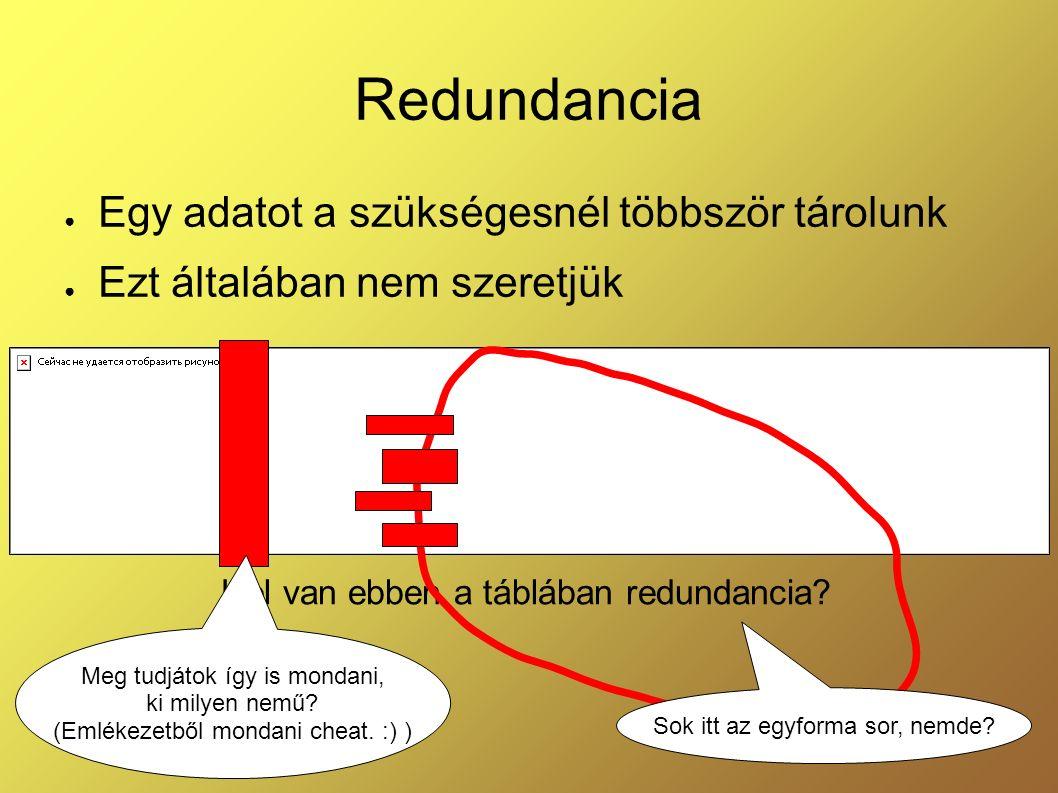 Redundancia ● Egy adatot a szükségesnél többször tárolunk ● Ezt általában nem szeretjük Hol van ebben a táblában redundancia? Sok itt az egyforma sor,