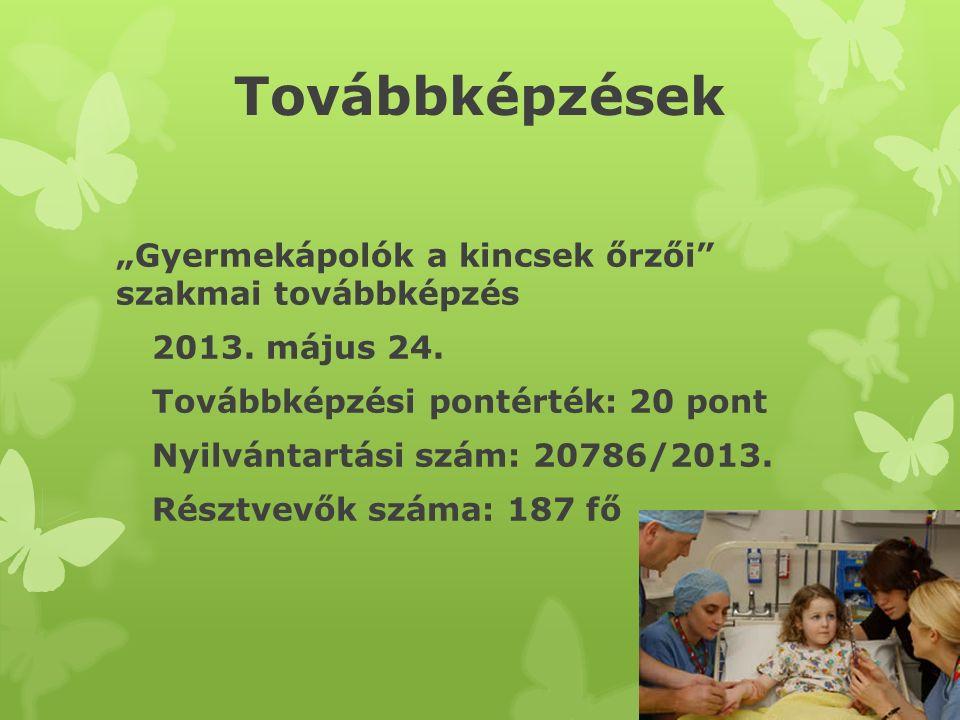 """Továbbképzések """"Gyermekápolók a kincsek őrzői szakmai továbbképzés 2013."""