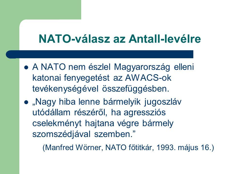 NATO-válasz az Antall-levélre A NATO nem észlel Magyarország elleni katonai fenyegetést az AWACS-ok tevékenységével összefüggésben.