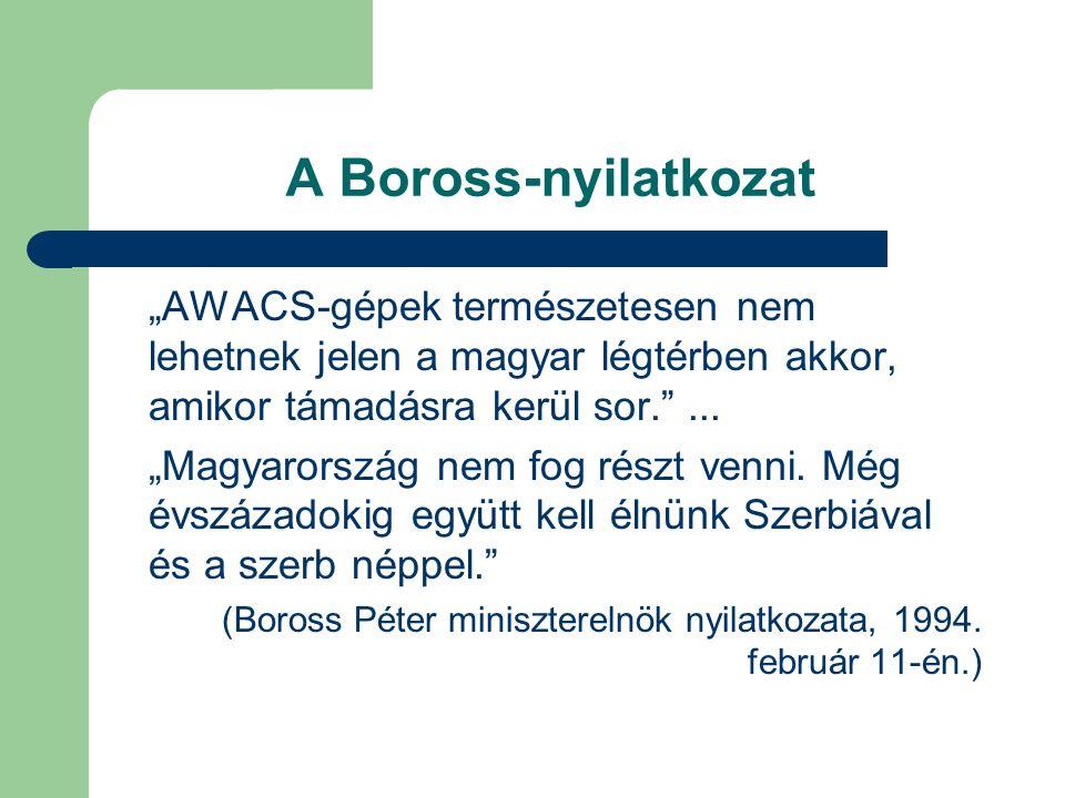 """A Boross-nyilatkozat """"AWACS-gépek természetesen nem lehetnek jelen a magyar légtérben akkor, amikor támadásra kerül sor. ..."""