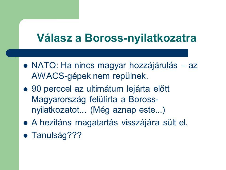 Válasz a Boross-nyilatkozatra NATO: Ha nincs magyar hozzájárulás – az AWACS-gépek nem repülnek.