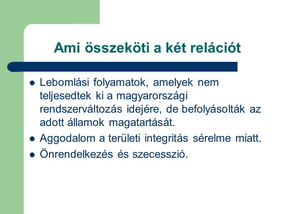 Ami összeköti a két relációt Lebomlási folyamatok, amelyek nem teljesedtek ki a magyarországi rendszerváltozás idejére, de befolyásolták az adott államok magatartását.