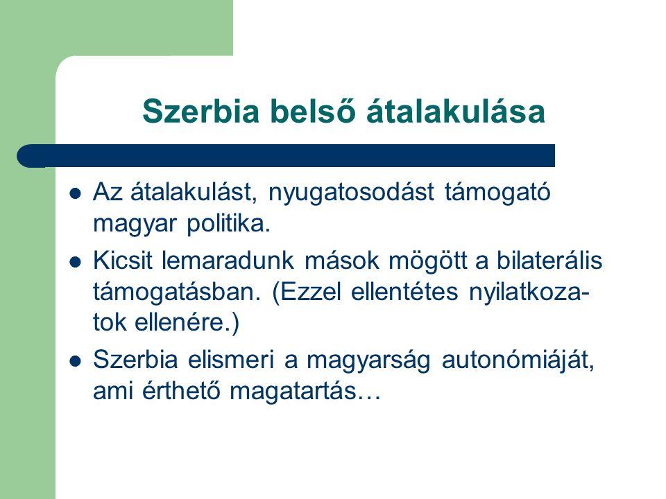 Szerbia belső átalakulása Az átalakulást, nyugatosodást támogató magyar politika.