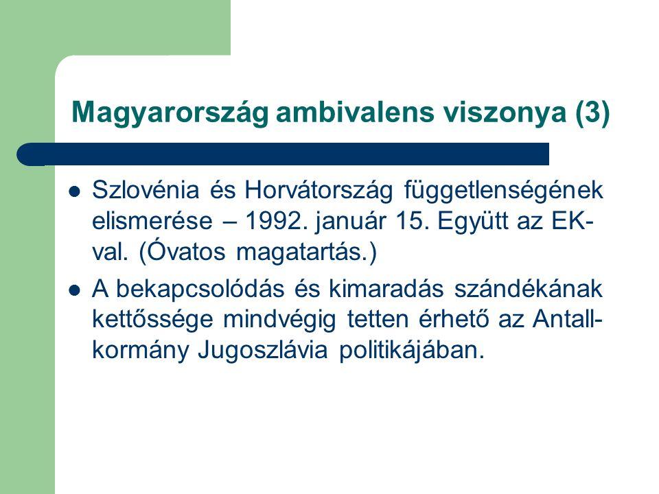 Magyarország ambivalens viszonya (3) Szlovénia és Horvátország függetlenségének elismerése – 1992.