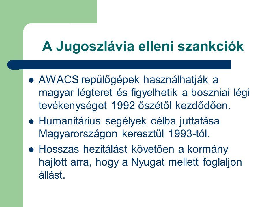 A Jugoszlávia elleni szankciók AWACS repülőgépek használhatják a magyar légteret és figyelhetik a boszniai légi tevékenységet 1992 őszétől kezdődően.