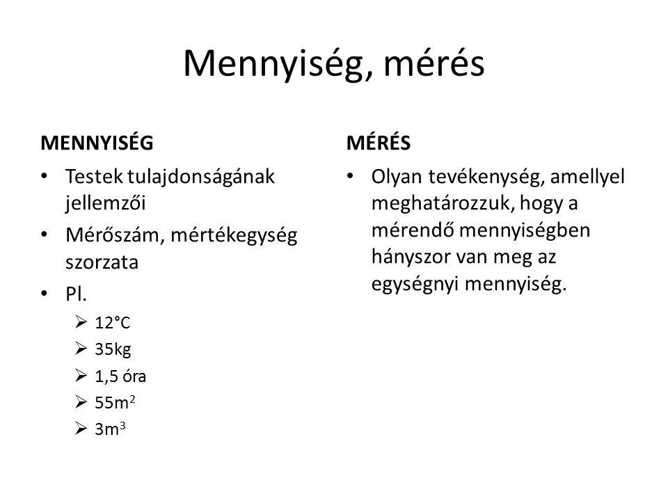 Mennyiség, mérés MENNYISÉG Testek tulajdonságának jellemzői Mérőszám, mértékegység szorzata Pl.