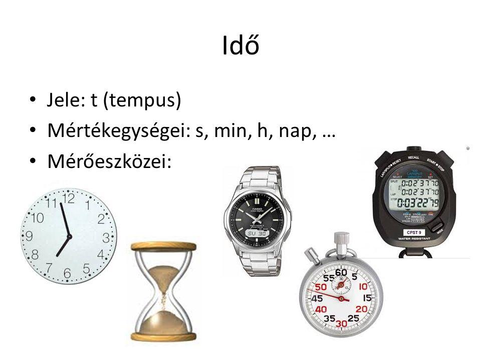Idő Jele: t (tempus) Mértékegységei: s, min, h, nap, … Mérőeszközei: