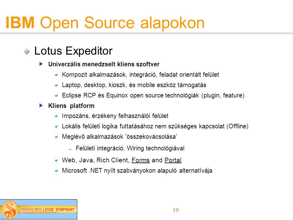 19 IBM Open Source alapokon Lotus Expeditor Univerzális menedzselt kliens szoftver Kompozit alkalmazások, integráció, feladat orientált felület Laptop, desktop, kioszk, és mobile eszköz támogatás Eclipse RCP és Equinox open source technológiák (plugin, feature) Kliens platform Impozáns, érzékeny felhasználói felület Lokális felületi logika futtatásához nem szükséges kapcsolat (Offline) Meglévő alkalmazások összekovácsolása – Felületi integráció, Wiring technológiával Web, Java, Rich Client, Forms and Portal Microsoft.NET nyílt szabványokon alapuló alternatívája